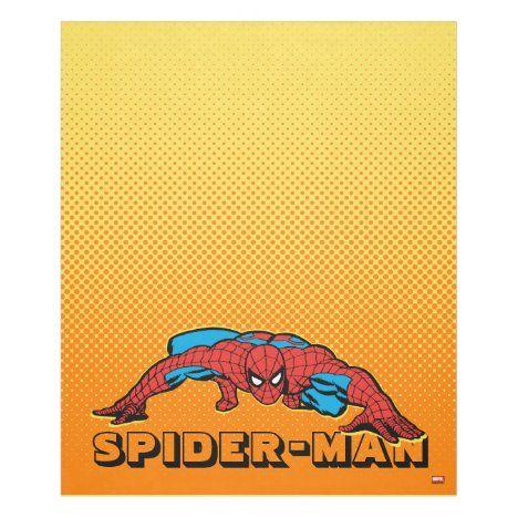 Spider-Man Retro Crouch Fleece Blanket #marvel #spiderman
