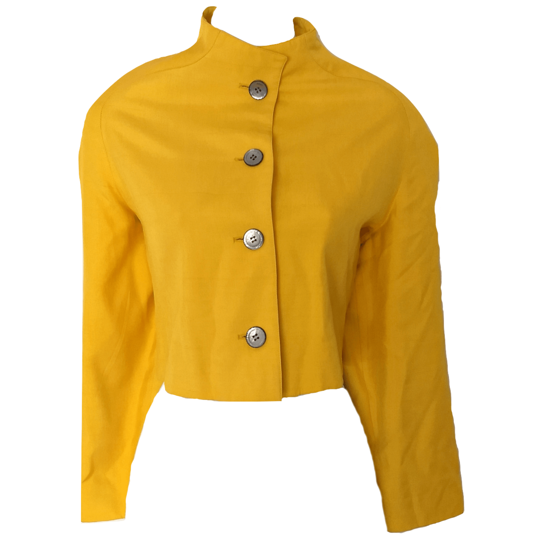 4086ec84840a08 Vintage Yellow Jacket Funnel Neck Collar 80s Blazer Cropped Size Medium –  The Pixie Dust
