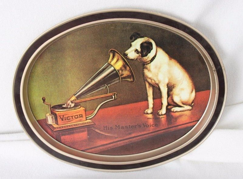 Victor His Master's Voice Old Pictorial Tray Nipper RCA Made in Frenchtown NJ #RCAVictor