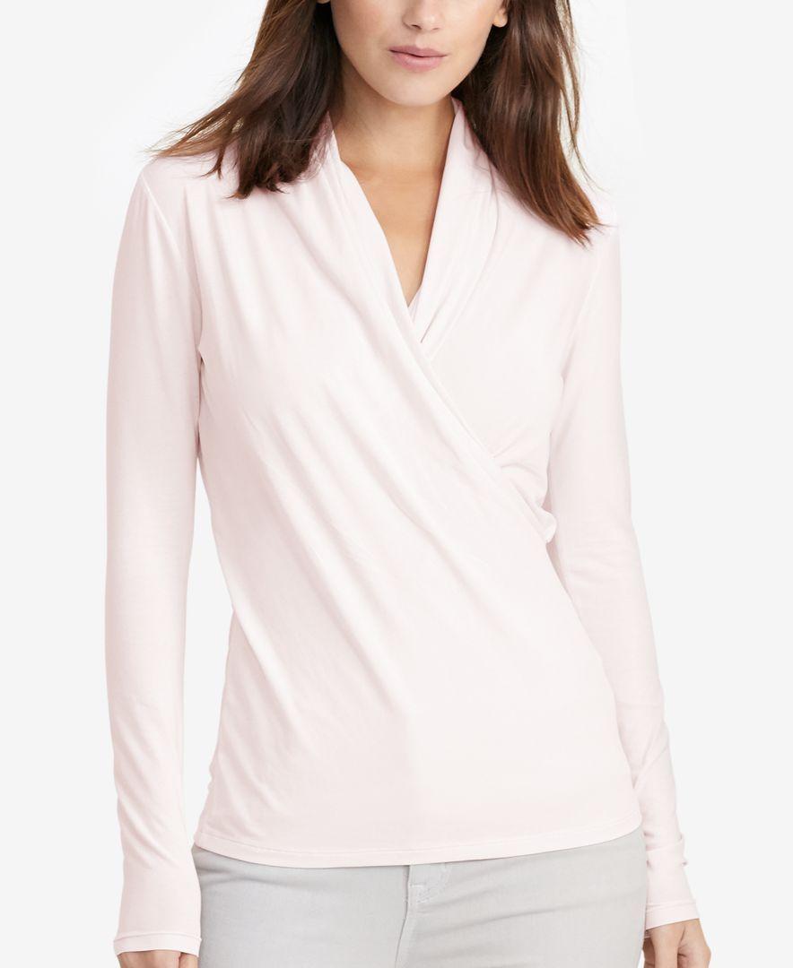 Lauren Ralph Lauren Surplice Jersey Top - Tops - Women - Macy's