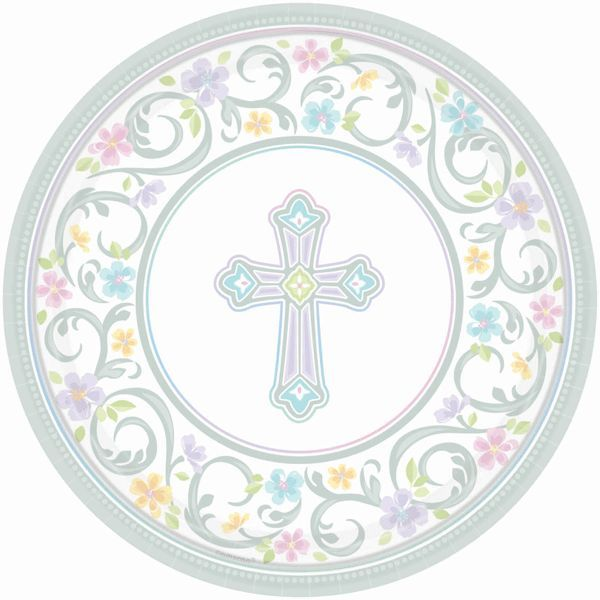 Blessed Day Paper Dinner Plates 18ct   Christening and Communion