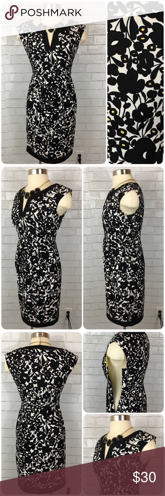 London Times Petites Black White & Yellow Dress 4P This London Times Petites dress is in excellent preowned condition.  It features a v-neckline, empire waist, pleating at the midsection for a flattering fit, knee length classic cut, and an all over black floral print with yellow highlights. Belt loops for a small belt; belt not included. London Times Dresses Midi