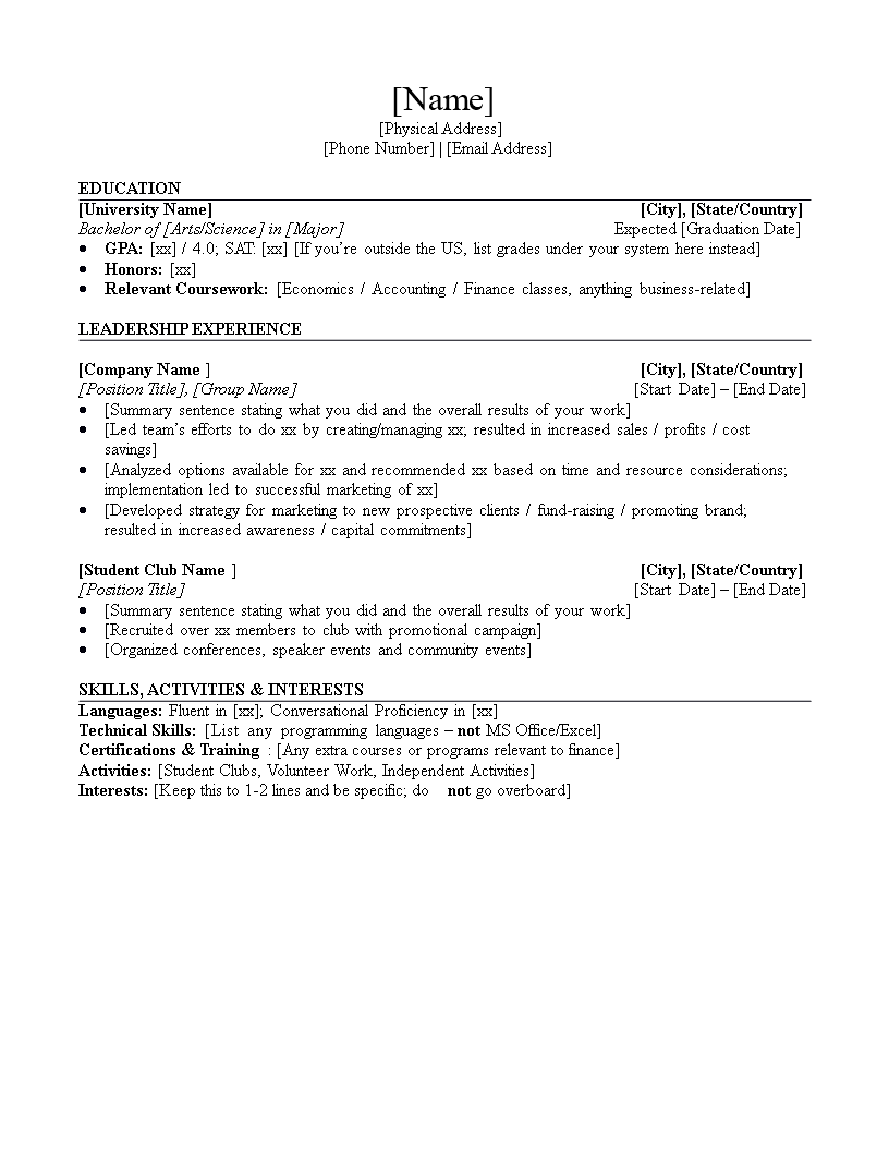 entry level investment banking resume docx