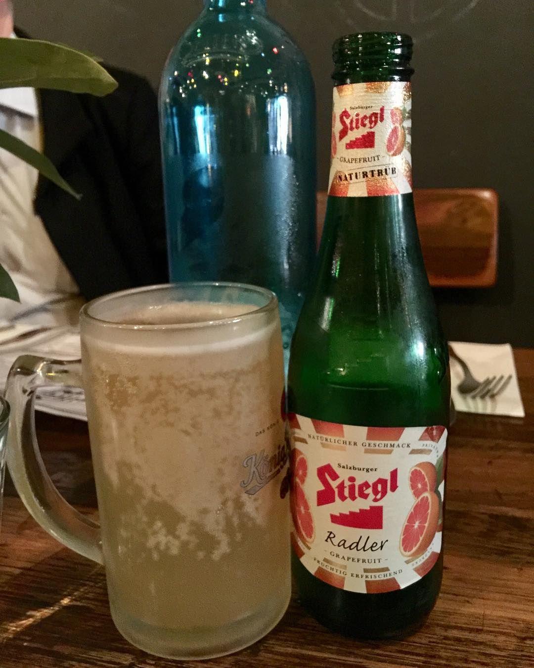 Radler just like on the tour #radler @bierkellerrichmond @bierkeller #bierkeller #austrianfood #stiegl #richmond #stieglradler