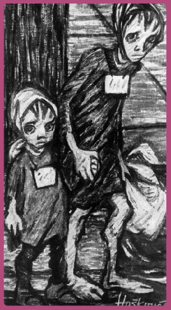 Helga Weissova. The last drawing of her series, made at Terezín's exit in 1945. Everything can be sensed in the child's look.