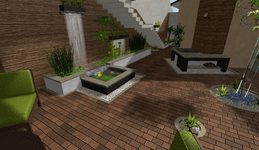 Modelo de patio con jard n acuatico estanque fuente de for Modelos de estanques