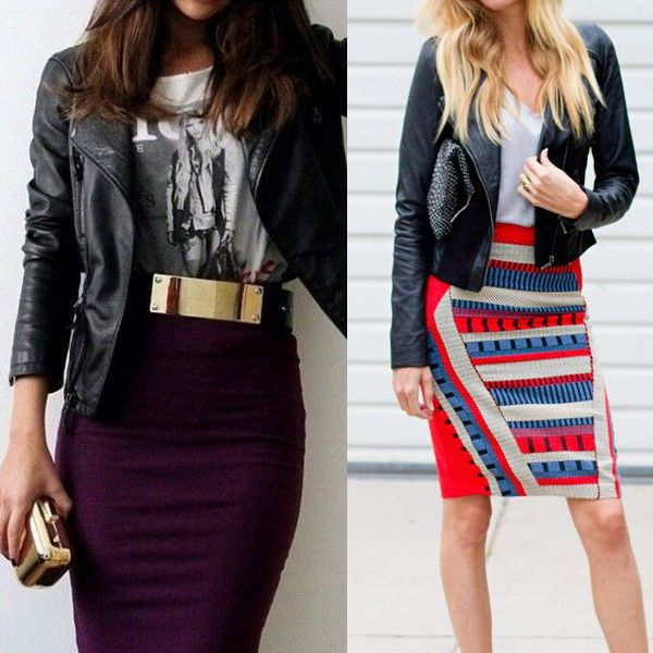 Just the outfit on the left, please! I love that gold belt breaking up the business casual outfit!