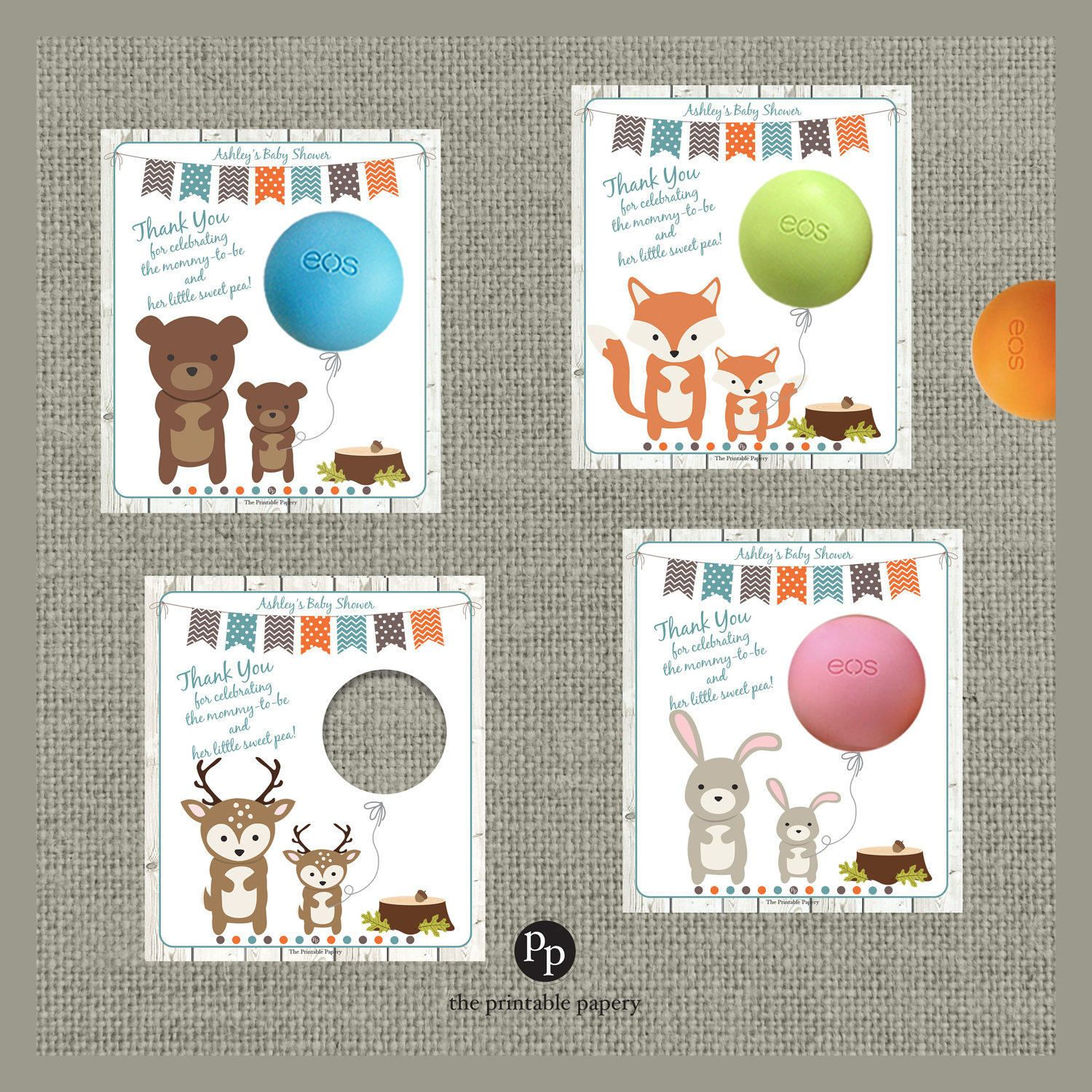 Printable Woodland Animal Baby Shower Gift Tags for EOS lip balm