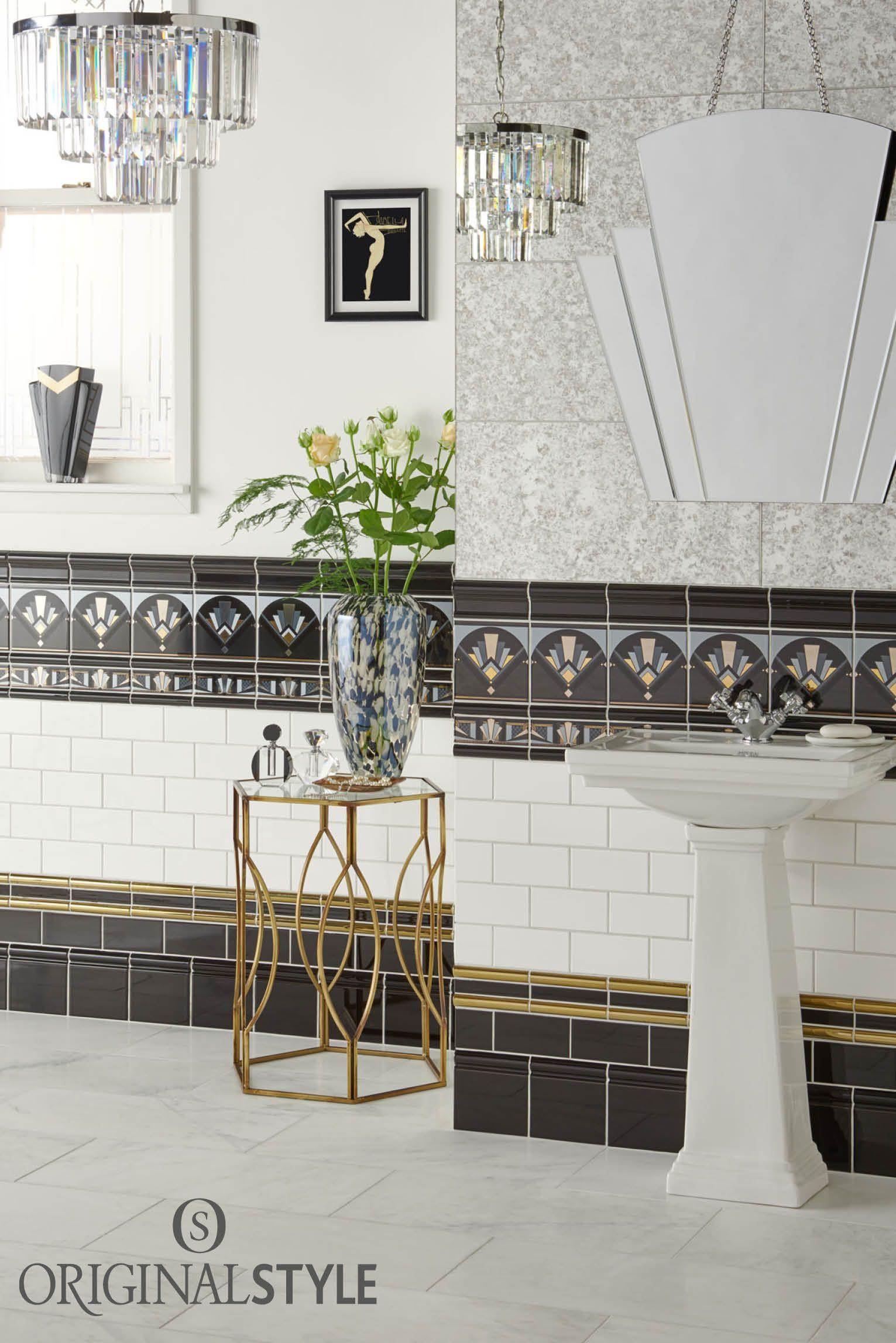 Black Fan Tile | Art deco bathroom, Bathroom art and Ranges
