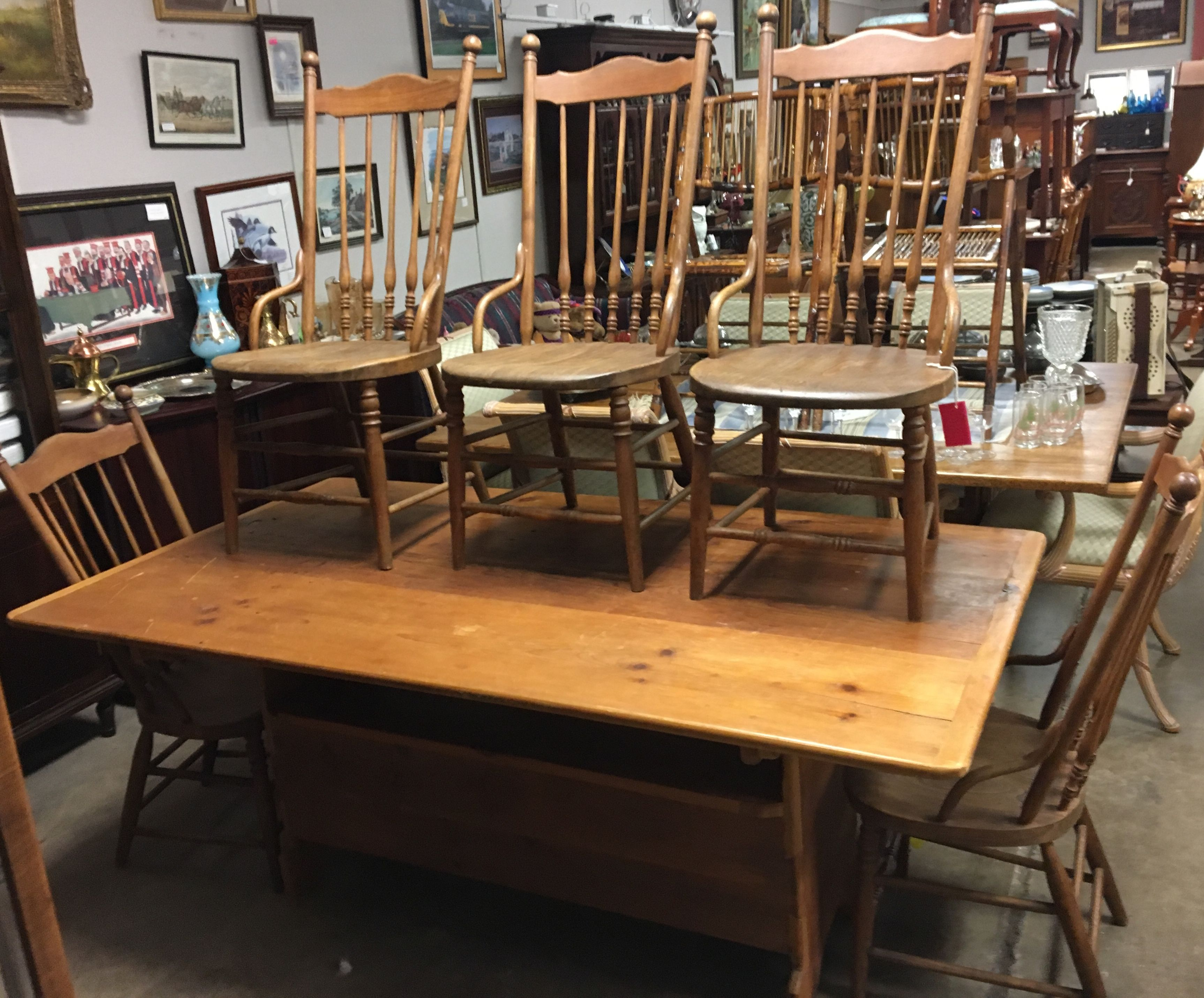 Early Pine Tilt Top Bench Table 5 Chestnut Windsor Chairs