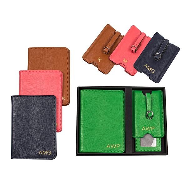 90e345b35170 Personalized Leather Passport Holder & Luggage Tag Set in 2019 ...
