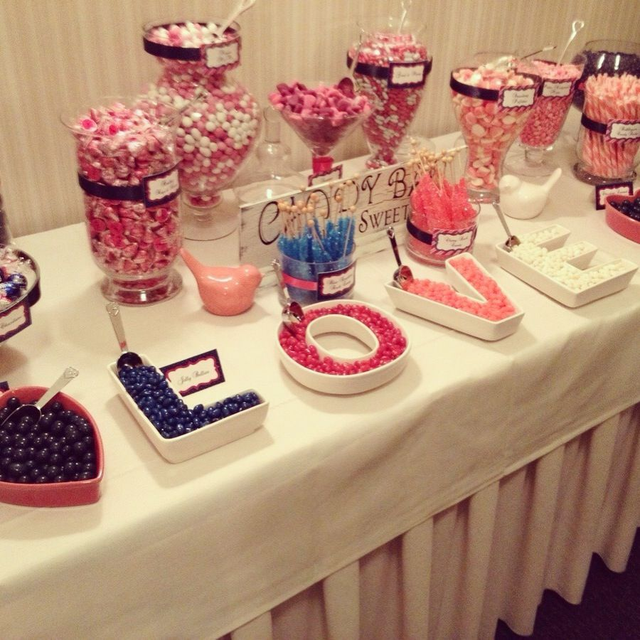 Pink & Navy Candy Bar #wedding #candybar #candy | Decorate with ...