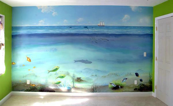 Ocean Painted Wall Mural Childrens Room Mural Under The