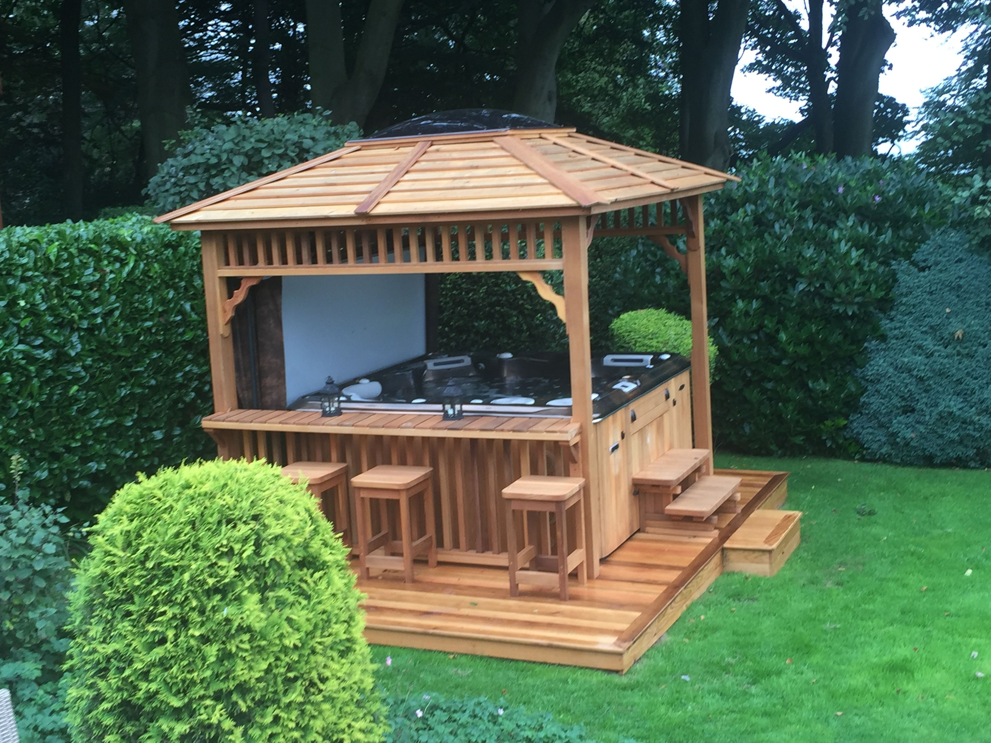 Cedar bar gazebo with matching cedar clad hot tub looks for Diy hot tub gazebo