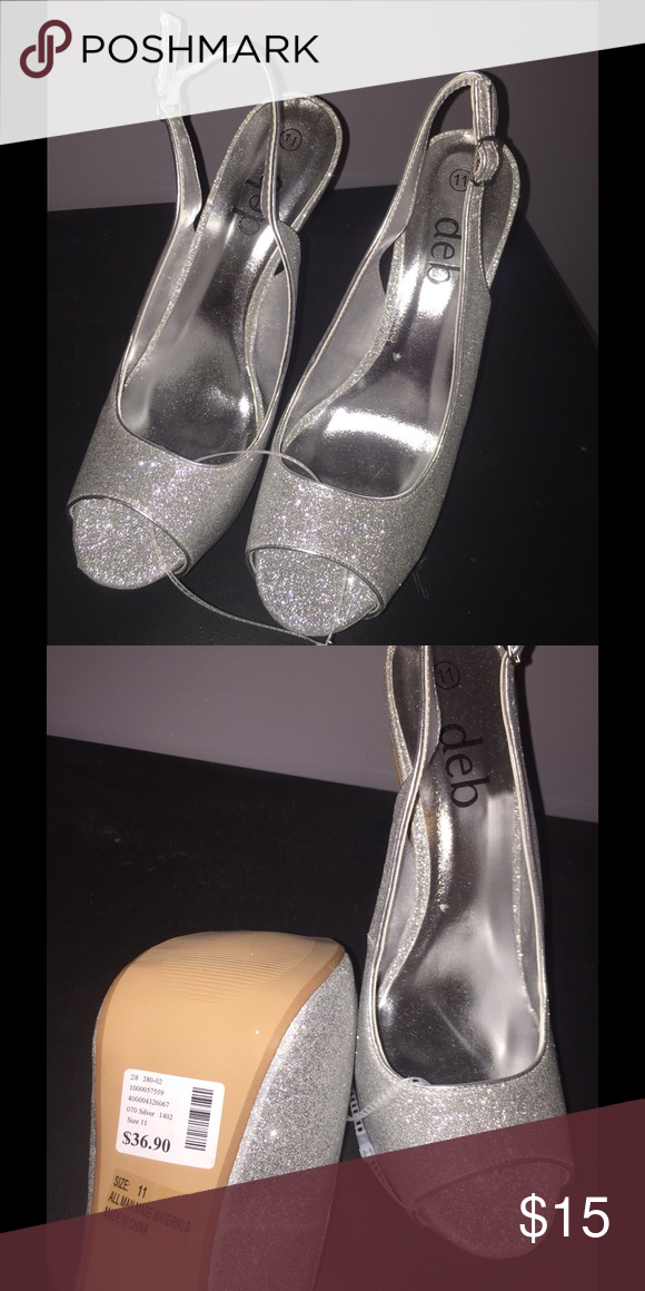 3f9dd10250cb Deb silver glitter heels (NWT) size 11 Silver size 11 heels. Brand new with  tags. Deb Shoes Heels