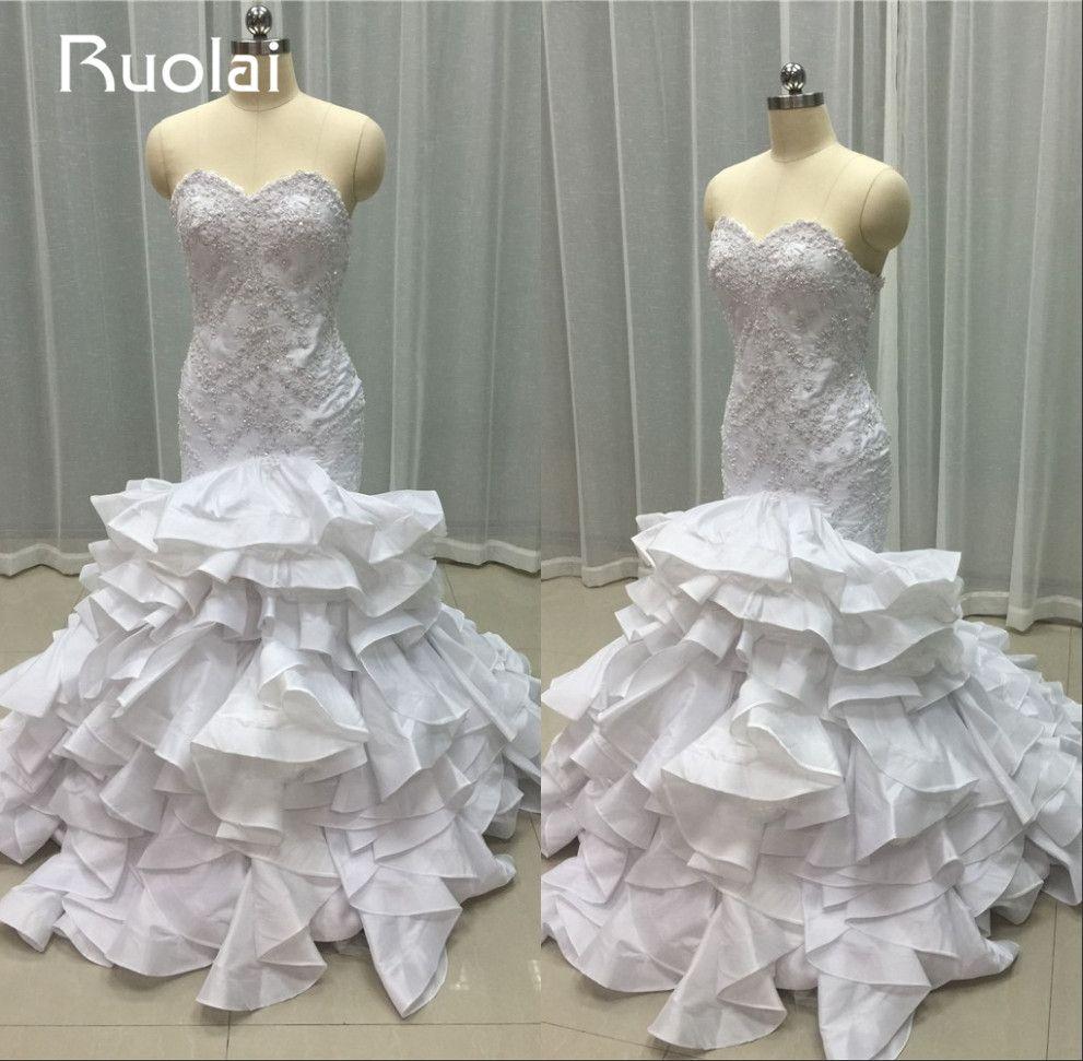 Mermaid wedding dresses with feather bottom  Click to Buy ucuc Real Image Luxury Mermaid Wedding Dresses Sweetheart