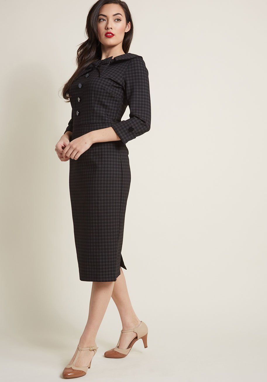 116e0b9298a04 Evocative Aesthetic Sheath Dress in Plaid - Your secret to professional  success  Why