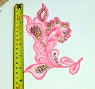 Stunning pink sequin imbroidered Flower large iron on patch, applique, shoptillyoudropnow on Zibbet