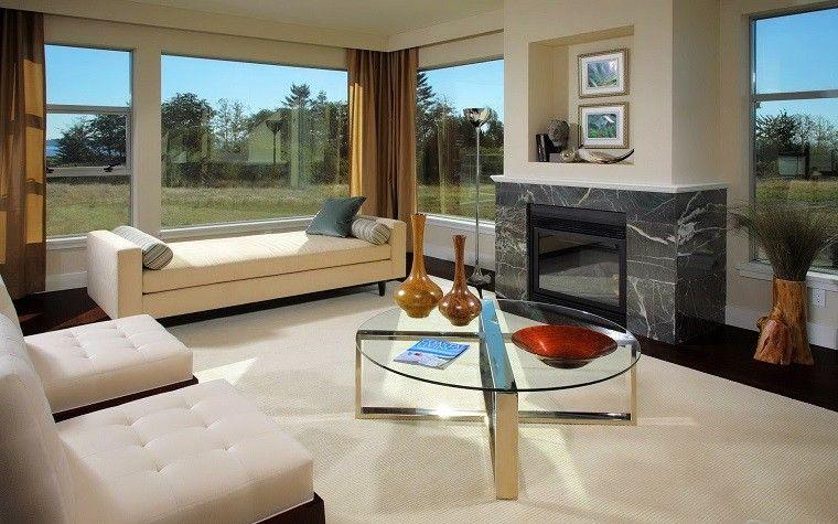 chimenea marmol negro lujo salon moderno ideas