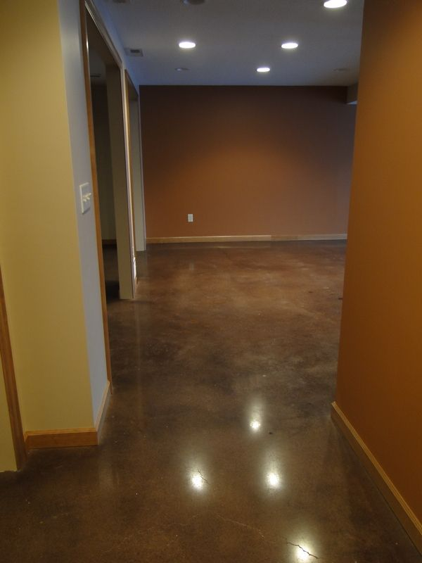 Carpeting Was Removed From The Concrete Basement Floor Repaired Dyed And Polished To A Glass Basement Flooring Concrete Basement Floors Basement Refinishing