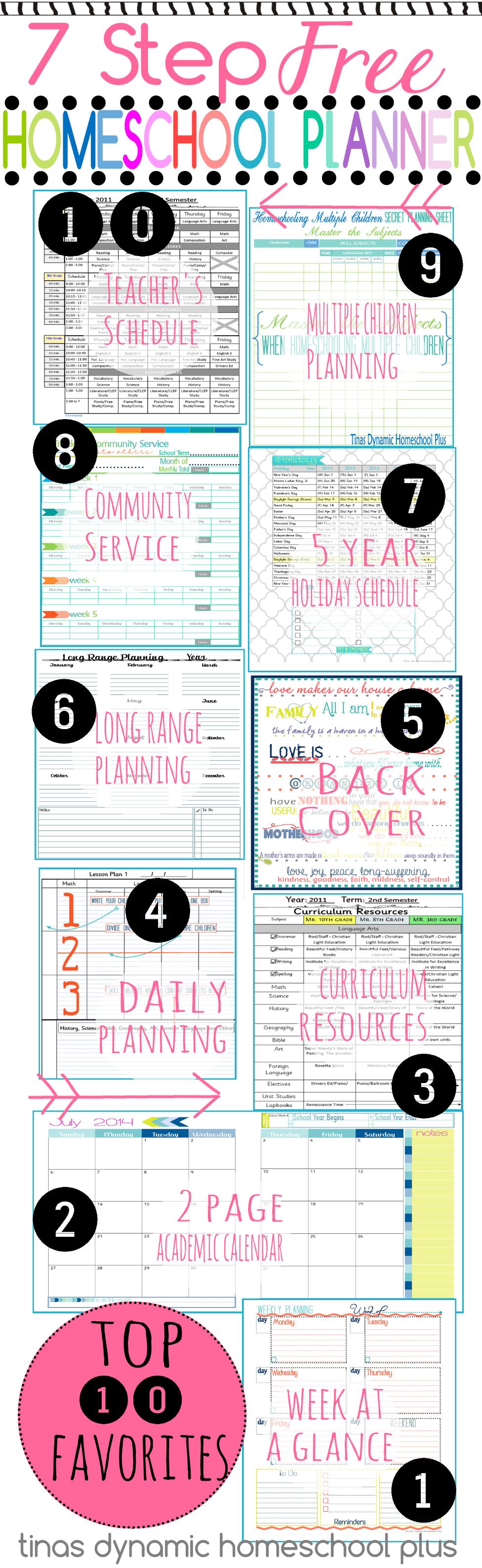 7 Step Free Homeschool Planner. #teacherplannerfree