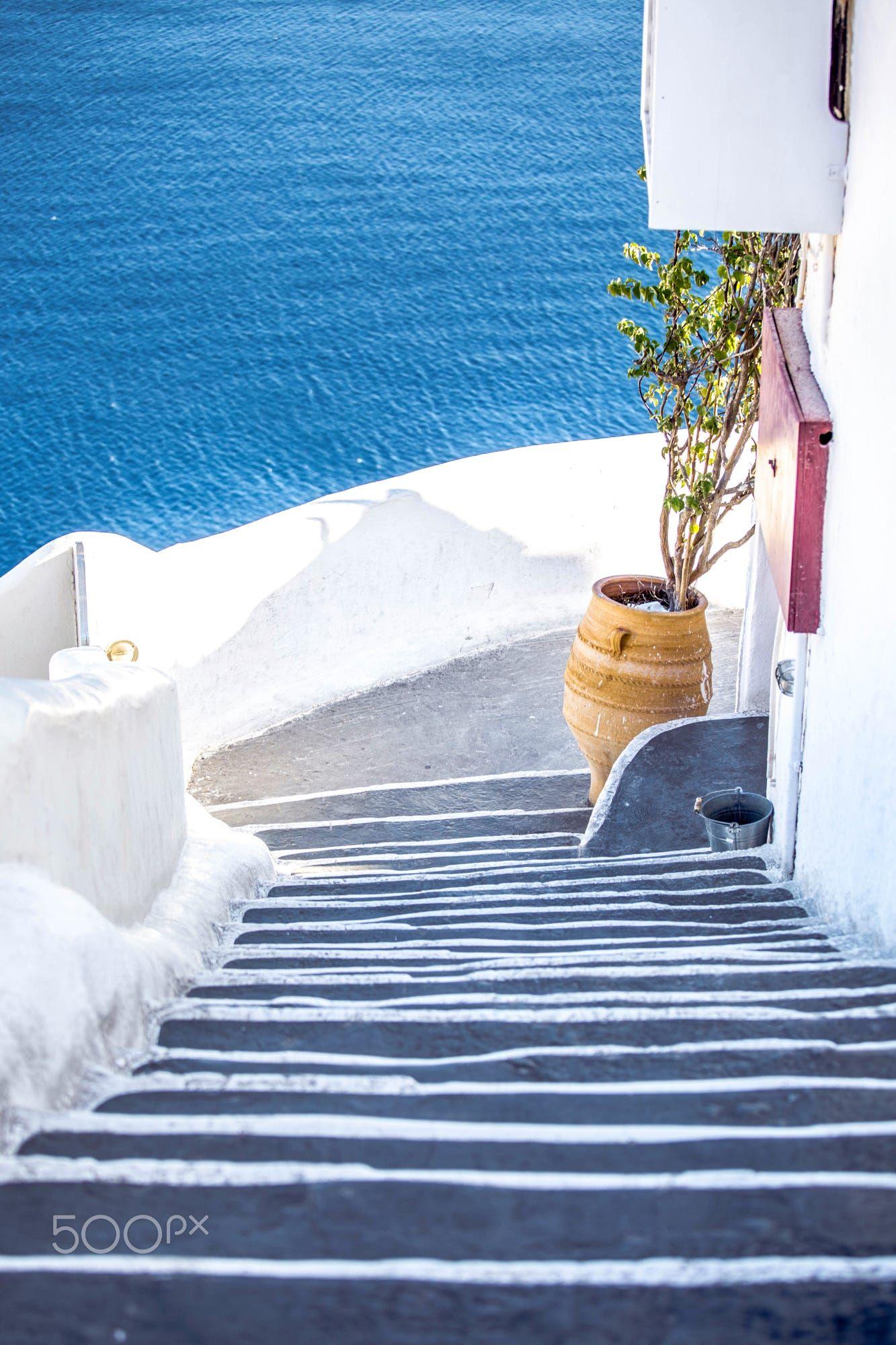 Santorini steps to blue