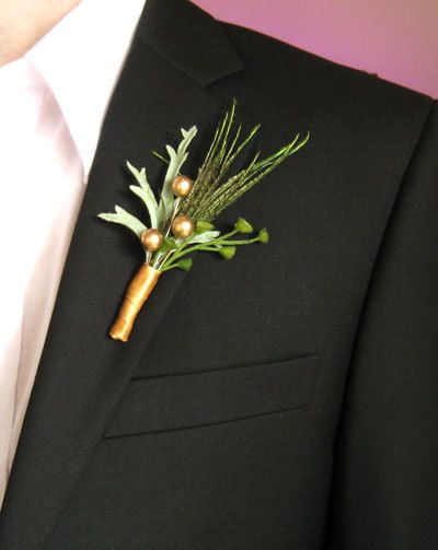 Wedding boutonnieres feather boutineers rustic green gold pearls ...