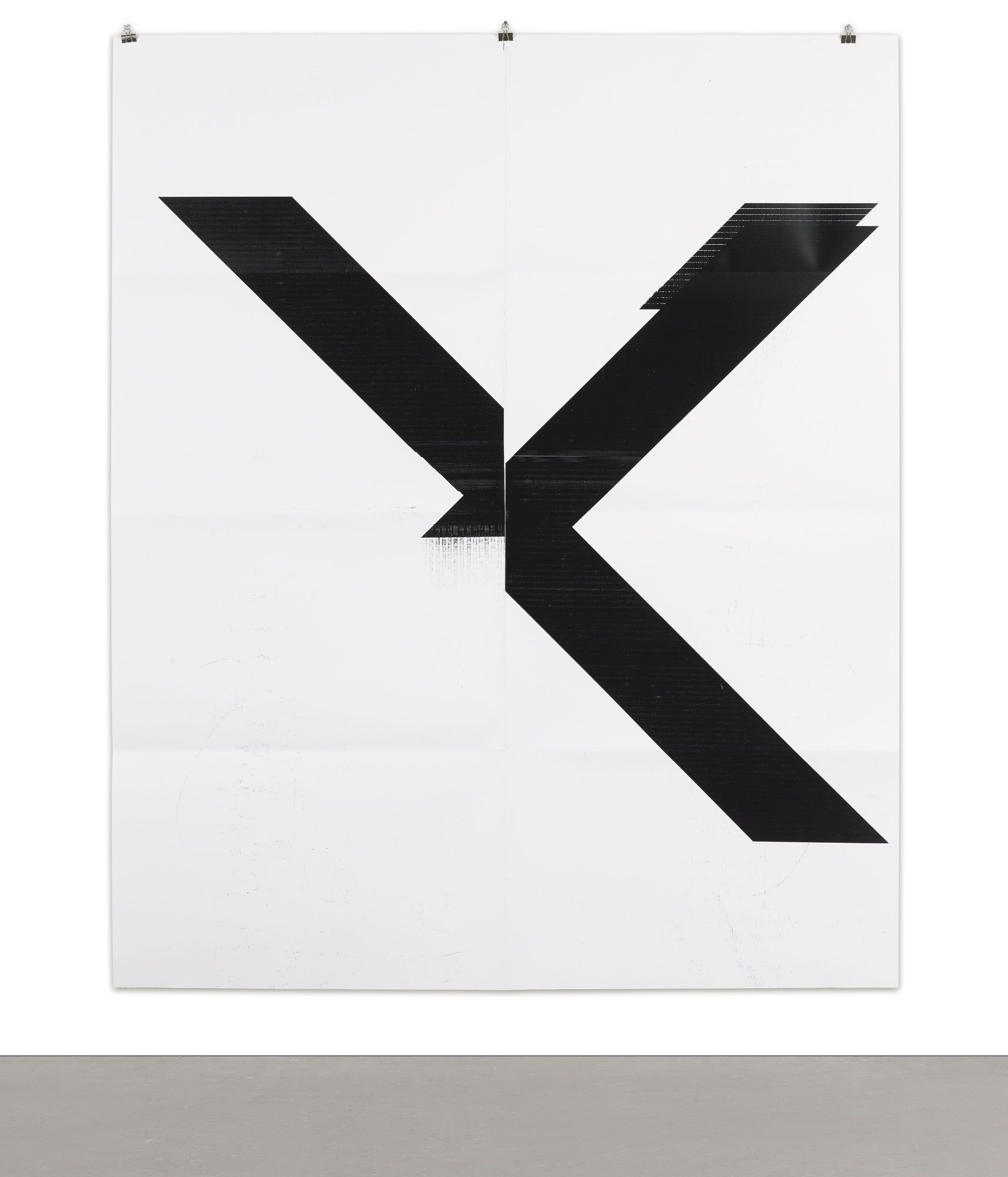 Wade Guyton B.1972 X POSTER (UNTITLED, 2007, EPSON ULTRACHROME INKJET ON LINEN, 84 X 69 IN, WG1999) signed and numbered 41/100 on a label affixed to the sleeve hand-folded digital print on paper with archival UV curable ink 84 by 69 in. 213.4 by 175.3 cm. Executed in 2015, this work is number 41 from an edition of 100, published by Printed Matter, Inc., New York, contained in the original cardboard sleeve.