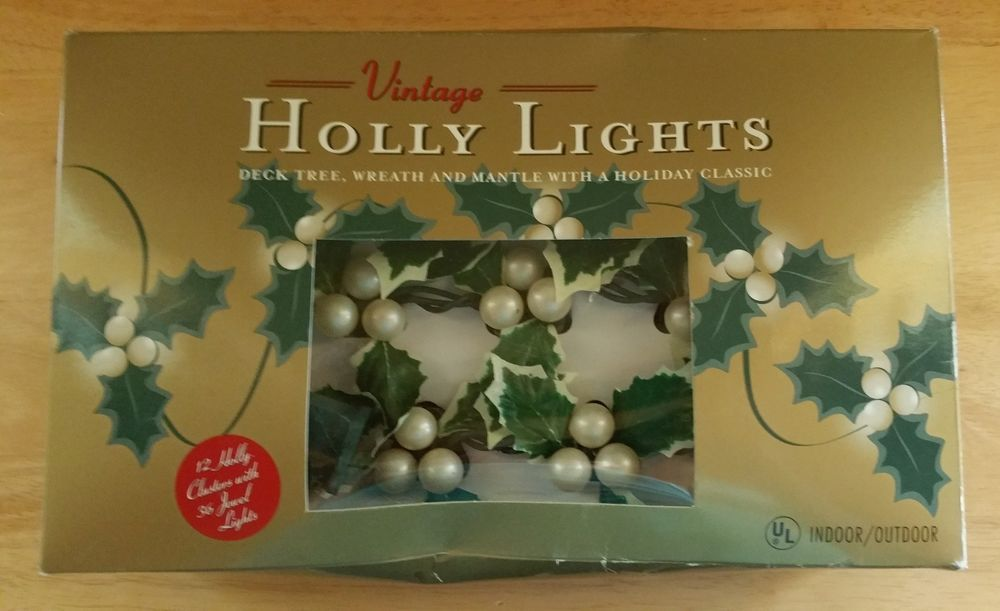 String Lights Christmas Holly Lights White 12 Holly Cluster 36 Jewel
