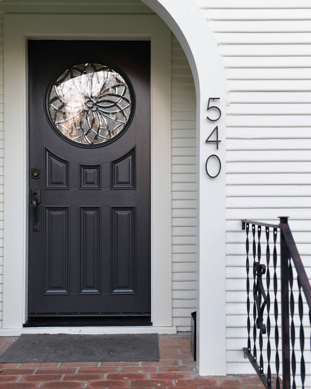 Our New Front Entryway Door In Benjamin Moore Graphite Siding Bm Cloud White