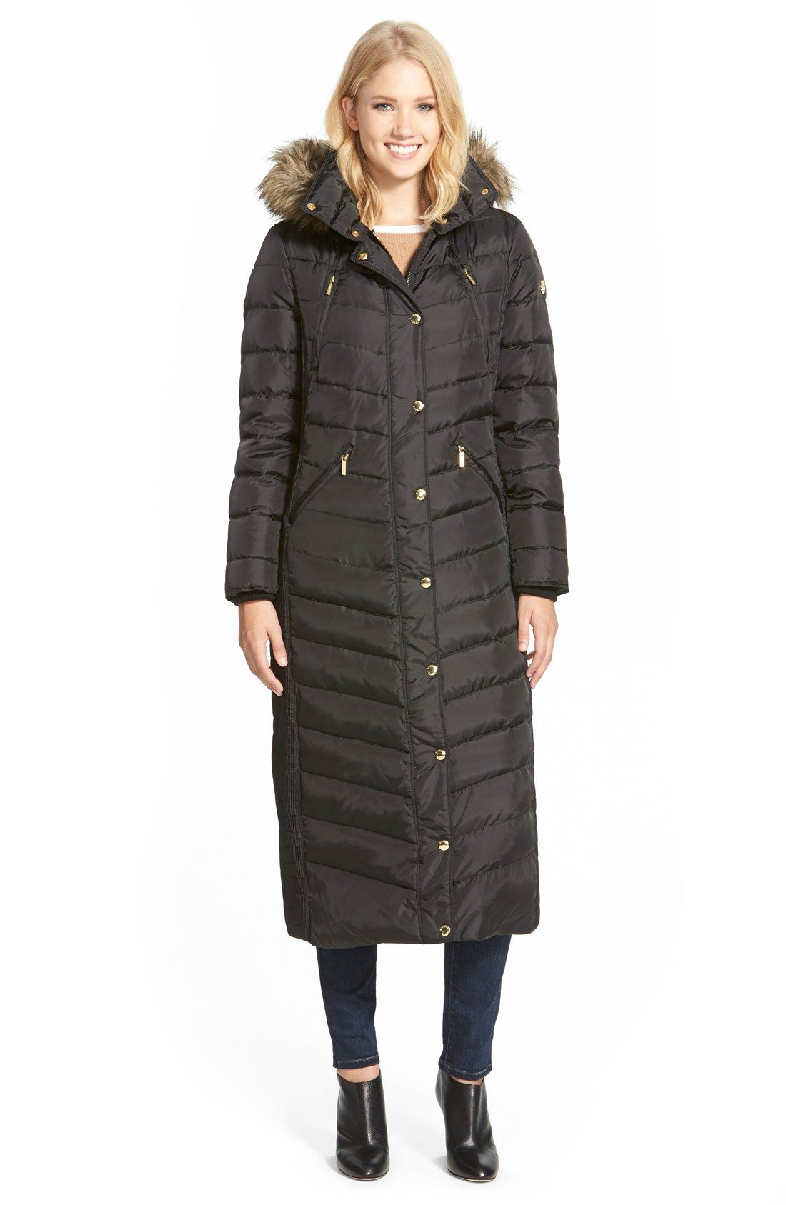 MICHAEL Michael Kors Faux Fur Trim Long Down & Feather Fill Coat ...