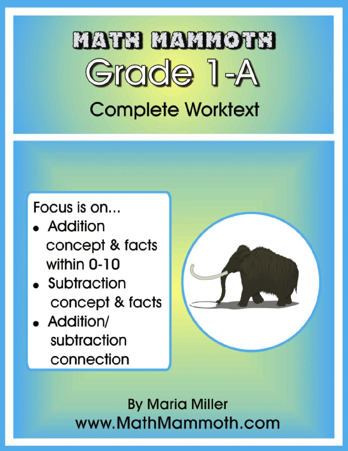 Mathmammoth Grade1a With Images