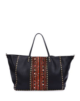 Large+Painted+Rockstud+Tote+Bag,+Black+by+Valentino+at+Bergdorf+Goodman.