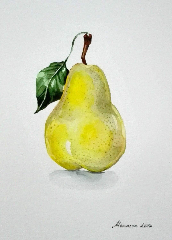 Pear watercolor painting Original watercolor Kitchen decor Fruit ...