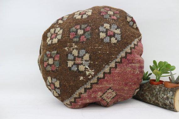 Pillow Rug, 18x18, Turkish Rug Pillow, Floral Pillow, Organic Pillow, Sofa Pillows, Round Pillow, Cu