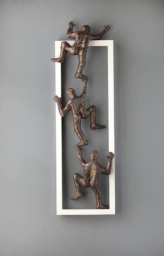 Escalada hombres Foto de arte de pared de Metal enmarcado | Cuadro ...