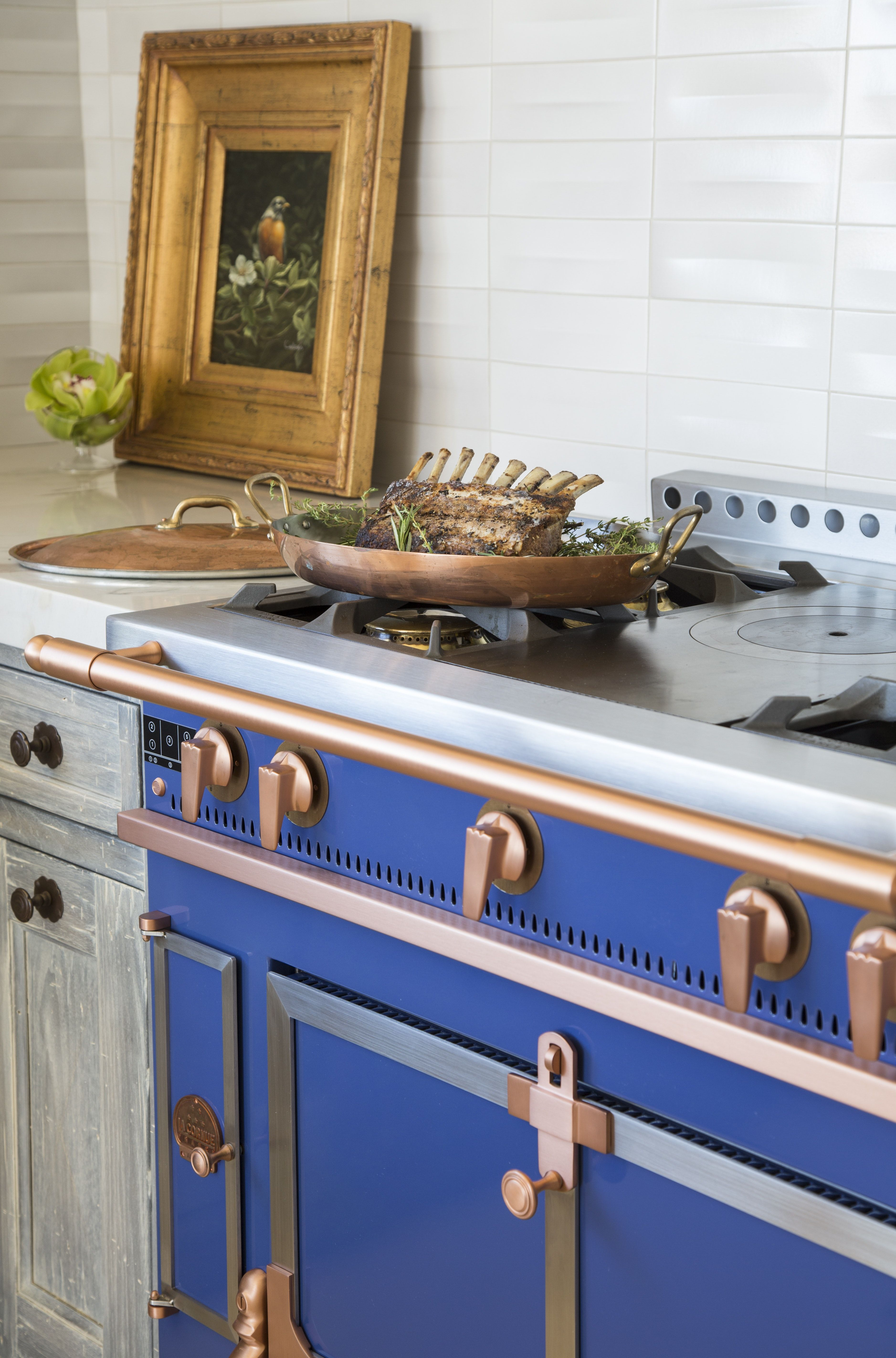rolling hills california kitchen with blue la cornue with art in the kitchen kitchen on kitchen interior top view id=61621