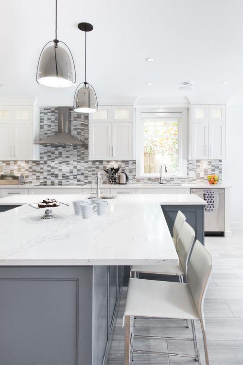 Modern White U0026 Gray Kitchen   White Countertop, Gray Cabinets, White  Cabinets, Pendant