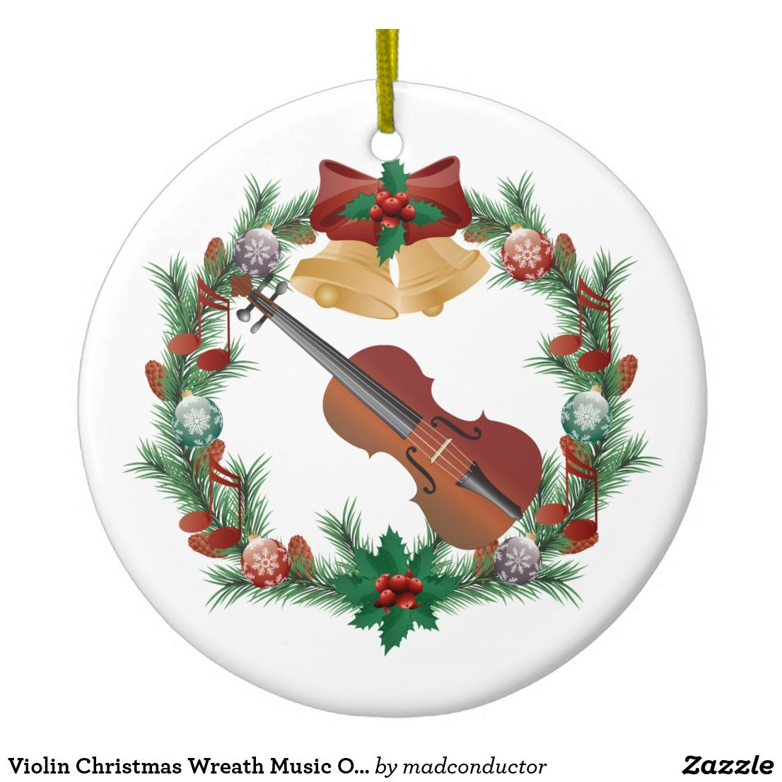 Violin Christmas Wreath Music Ornament Gift | Zazzle.com ...