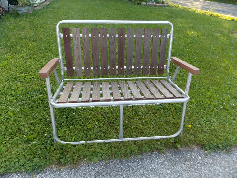 Vintage folding slat cedar wood redwood aluminum patio lawn chair bench retro cedar wood Metal patio furniture vintage