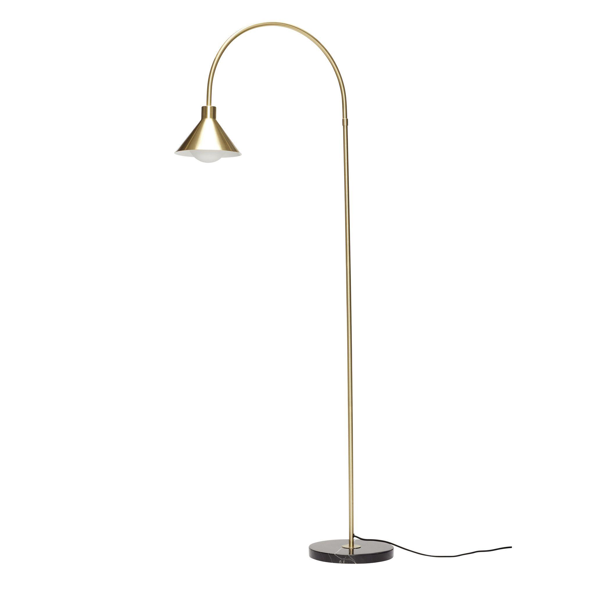 Hubsch Staande Lamp Met Marmeren Voet Zwart Messing In 2020 Vloerlamp Lampen Messing