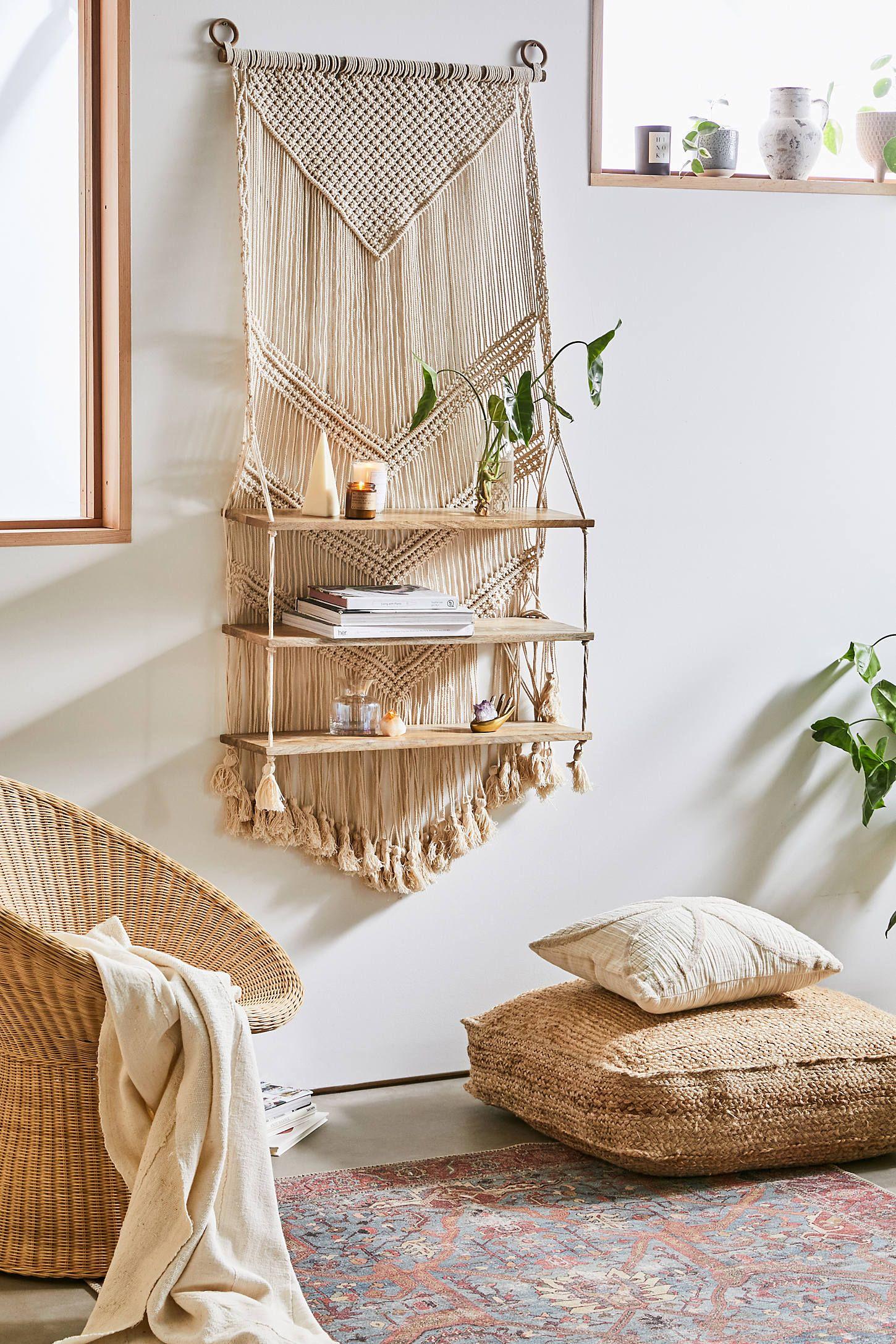 Marina Macrame Wall Shelf Apartment Decorating On A Budget