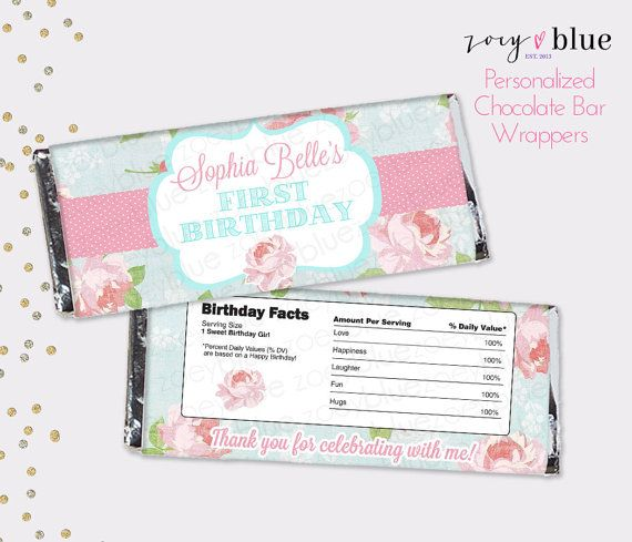 Shabby Chic Birthday Chocolate Bar Wrapper Pink Roses Rustic Baby Shower Favor Candy Bar Wrap First Birthday Printed Wrappers Birthday Chocolate Bar Wrappers Baby Shower Chocolate Bars Baby Shower Chocolate