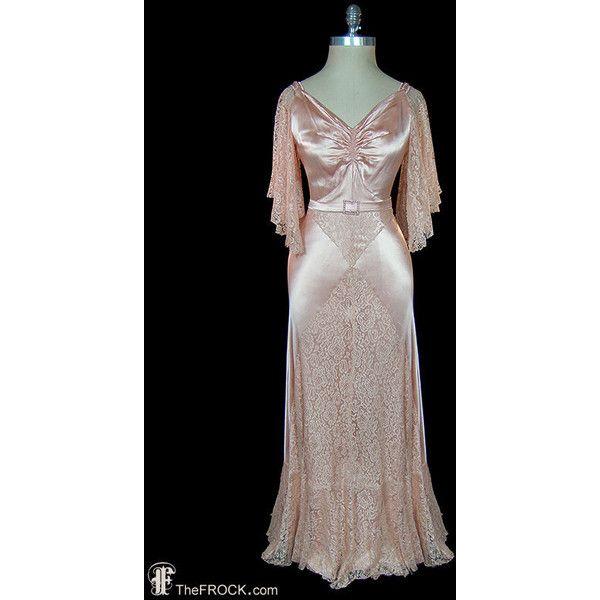 1930s blush pink evening gown or wedding dress, antique art-deco ...