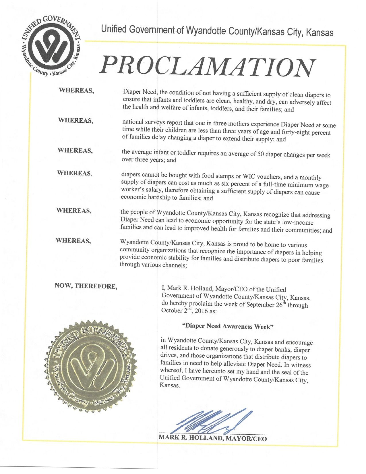 UNIFIED GOVT KANSAS CITY, KS - Mayoral proclamation recognizing Diaper Need Awareness Week (Sep. 26-Oct. 2, 2016) #DiaperNeed Diaperneed.org