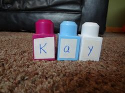 """Learning Letters with blocks!  Kat actually just """"bought"""" the letter and number Lego sticker ones with a gift card she got for her birthday and love using them in her learning."""