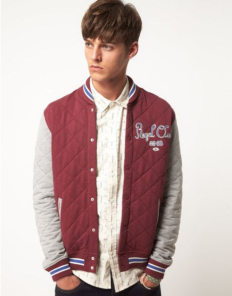 Asos Quilted Varsity Jacket in Red for Men