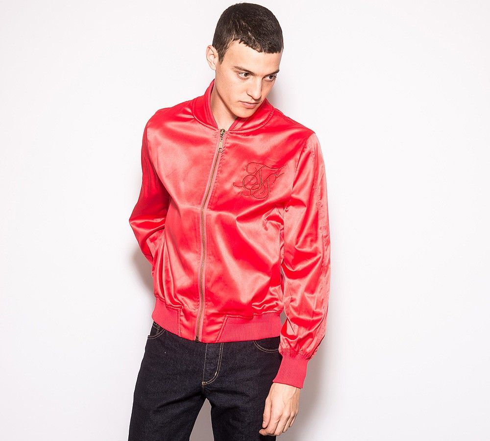 Sik Silk Satin Bomber Jacket | Red | Footasylum