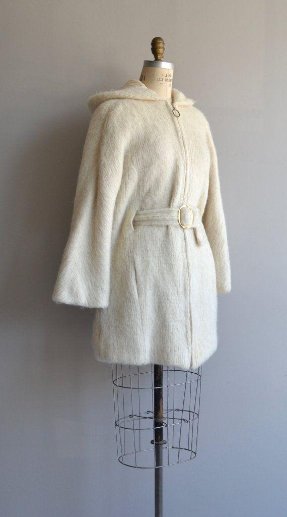 Eider Knit coat | Icelandic wool 70s coat | cream wool belted ...