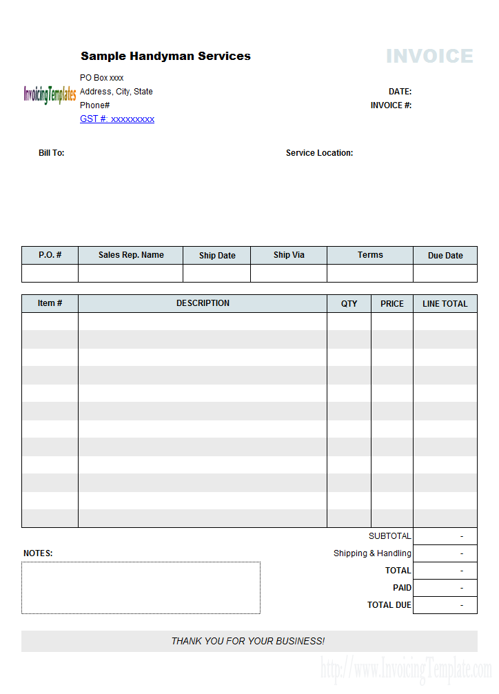 Handyman Bill Sample No Tax  Invoices Template